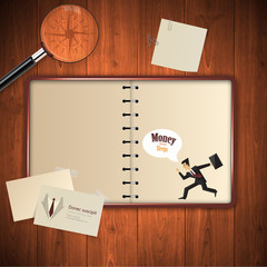 Open blank notebook on wooden table, Vintage style Vector Eps 10