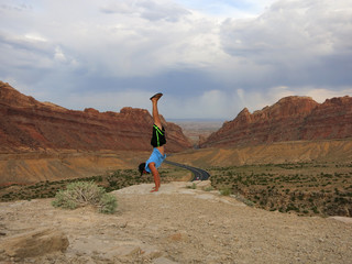 Man Handstands Spotted Wolf Canyon edge