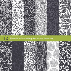 Vector Black White Natural Flat 12 Set Seamless Pattern