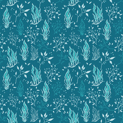 Vector Sea Blue Underwater Plants Lineart Seamless Pattern