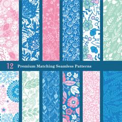 Vector Pink Blue Floral Hand Drawn Flat 12 Set Seamless Pattern