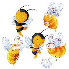 Set of bright cheerful bees