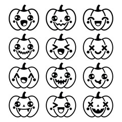 Halloween Kawaii cute black pumpkin icons - vector