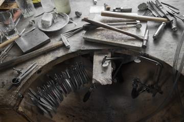 Work tools on workbench in workshop, Bavaria, Germany