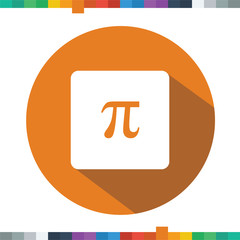 Flat mathematic Pi icon in a rectangle with a long shadow.
