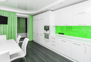 Specious modern white green interior kitchen-dining room with the built-in household appliances and the TV