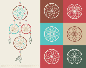 Dream catcher boho icons illustration