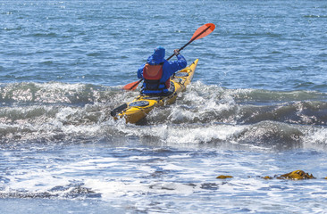 Kayakers on sand coast of Pacific ocean