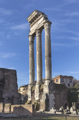 Columns of the Castor and Polux temple on Roman forum in Rome, Italy