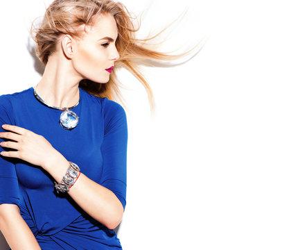 High fashion model girl wearing blue dress