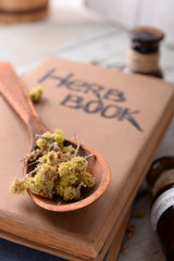 Different dried herbs and books on table close up