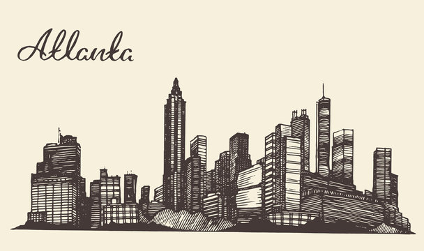 Atlanta skyline engraved hand drawn sketch