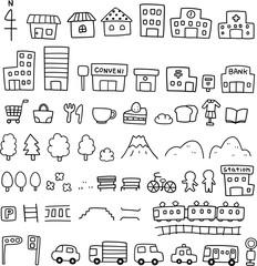 手描きの地図素材