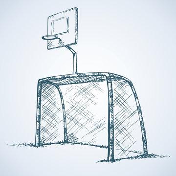 Big football and basketball goal. Vector drawing