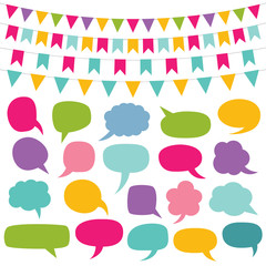 Design elements set - bunting and speech bubbles