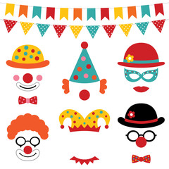 Circus and clown photo booth props