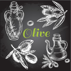 hand drawn olive set on black Board