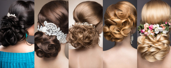 Foto auf Acrylglas Friseur Collection of wedding hairstyles. Beautiful girls. Beauty hair.