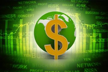 Dollar sign with globe