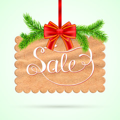 Christmas sale card with red ribbon