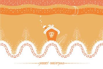 Cartoon Christmas card with house and snow landscape.Vector symb
