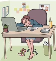 woman sleeping at office cabin