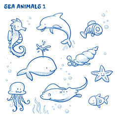 Cute cartoon sea water animals. Whale, fish, dolphin, jellyfish, seahorse, snail, ray, starfish. Hand drawn doodle vector illustration.
