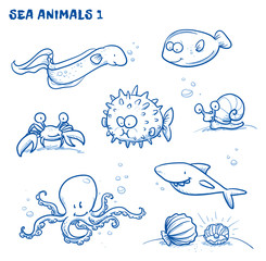 Cute cartoon sea water animals. Whale, fish, dophin, jelly, seahorse, snail. Hand drawn doodle vector illustration.
