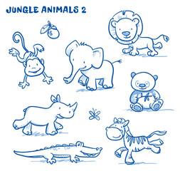 Cute cartoon jungle safari animals. elephant, monkey, lion, rhinoceros, zebra, panda bear, cocodile. Hand drawn doodle vector illustration.