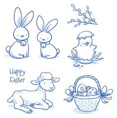 Cute easter icon and animal pet collection, with easter egg in nest, pussy willow branch, easter rabbit, lamb, chicks and flower. Hand drawn vector illustration.