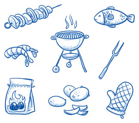 Set of barbecue icons: meat skewer, fish, grill, coals, shrips, potatoes, fork, oven glove. Hand drawn doodle vector illustration.