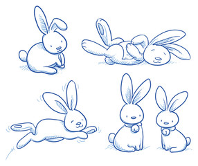 Cute bunny, rabbit collection, in different poses, for example for baby shower or easter card. Hand drawn vector illustration.