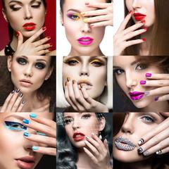 Nail Art Collection. Beauty face. Beautiful girls modeli