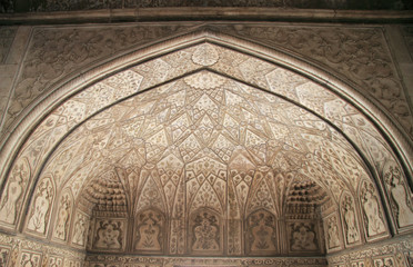 decorated ceiling in one of palaces, Agra fort