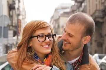 Couple enjoying outdoors in a urban surroundings.