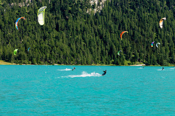 Kitesurf sul lago di silvaplana - St.Moritz