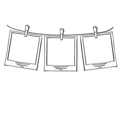 Photo frame on rope doodle sketch, vector