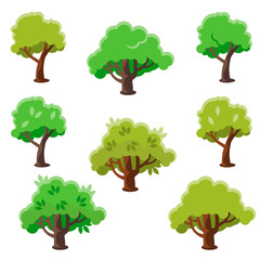 Isolated Cartoon Tree Set, Flat Vector Illustration