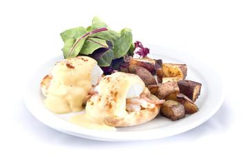 shrimp eggs benedict hash browns salad