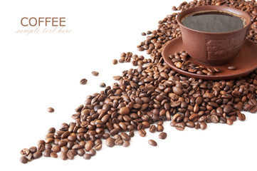 Coffee beans with spice and coffee cup isolated on white background