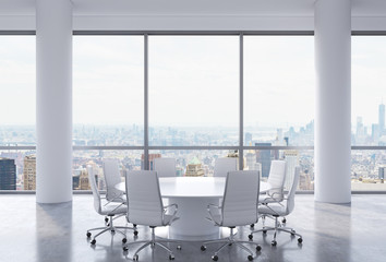 Panoramic conference room in modern office, New York city view. White chairs and a white round table. 3D rendering.