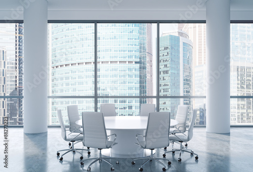 Panoramic conference room in modern office Moscow International