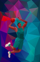 Polygonal geometric style illustration of a basketball player