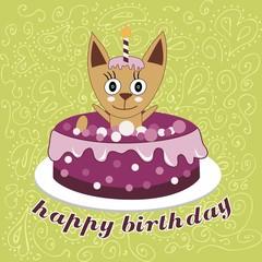 Cute cat, happy birthday card