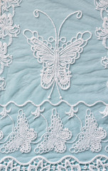 top view of vintage hand made beautiful lace fabric