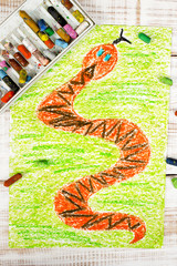 colorful drawing: snake in the grass