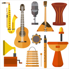 Set  musical instruments guitar, gramophone, trumpet, microphone