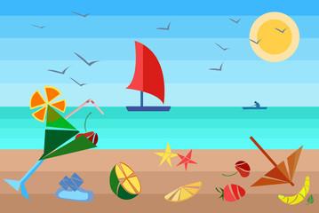 Cocktails on the beach ship, sun, fruits