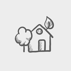 House with leave and tree sketch icon