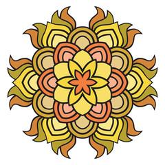 Beautiful  vector orange mandala Flower. Ornamental round floral object.